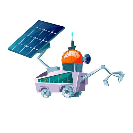Space explorer for planet colonization cartoon vector. Futuristic technology, sci-fi construction, space exploration or alien attack. Cosmic mars rover with solar battery isolated on white background