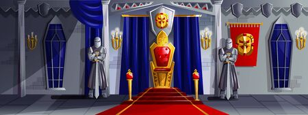 Castle room vector cartoon illustration. Ballroom interior in medieval palace with royal throne, armed knights in metal armor, tapestries and candles in candelabra on stone walls, game background Stock Illustratie