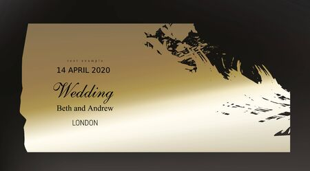 Golden paint smear on dark black background realistic vector. Beautiful vintage black gold design for wedding ceremony invitation card, holiday or Christmas sale banner and birthday congratulation