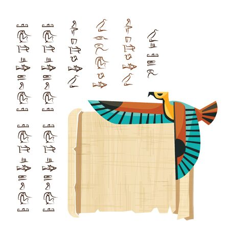 Ancient Egypt papyrus scroll with flying bird figure cartoon vector illustration. Egyptian culture symbol, blank unfolded ancient paper, flying falcon and hieroglyphs, isolated on white