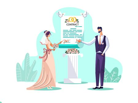 Illustration vectorielle de mariage contrat concept. Un couple de jeunes mariés, la mariée et le marié signent un accord de mariage lors de la cérémonie de mariage, le mari et la femme enregistrent leurs obligations. Carte d'invitation de mariage