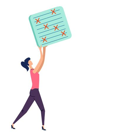 Deadline and time management business concept vector. Company worker woman hold in hand to do task card or schedule, effective planning