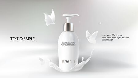 Milk cosmetics realistic vector blurred background. Skin care cosmetic product, body lotion in white bottle with silver dispenser in milk splash, crown with flying butterflies Mock-up promo poster Stock Illustratie
