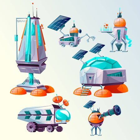 Space planet colonization vector cartoon set. Futuristic technology, sci-fi construction, space exploration. Cosmic ship or shuttle, mars rover, different bases and colony buildings or alien attack