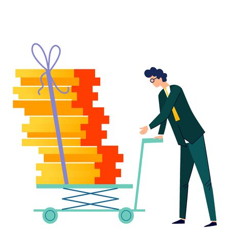 Male character pushes cargo trolley cartoon vector. Company worker, man in formal suit carrying push cart with cargo or office documents tied up with rope, isolated on white background