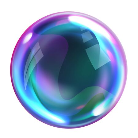 Soap bubble, realistic transparent air sphere of rainbow colors with reflections and highlights isolated on white background, vector illustrations