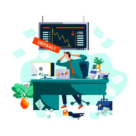 Default or collapse in stock market and exchange concept vector illustration. Businessman in stress, broker in panic clasping your head with hands on background of screen with securities value fall