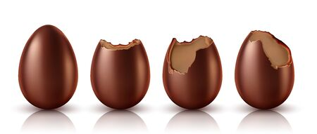 Chocolate egg whole and bitten realistic vector illustration. Collection of Easter chocolate sweets in eggs shape at different stages of eating, isolated on white background