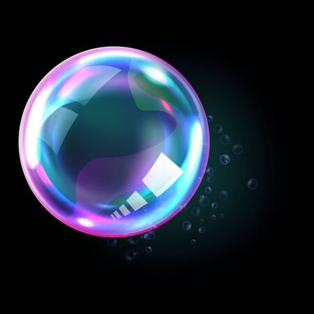 Soap bubble, realistic transparent air sphere of rainbow colors with reflections and highlights isolated on black background, vector illustrations Stock Illustratie
