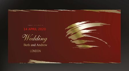 Golden paint smear on dark red background realistic vector. Beautiful vintage black gold design for wedding ceremony invitation card, holiday or Christmas sale banner and birthday congratulation Stock Illustratie