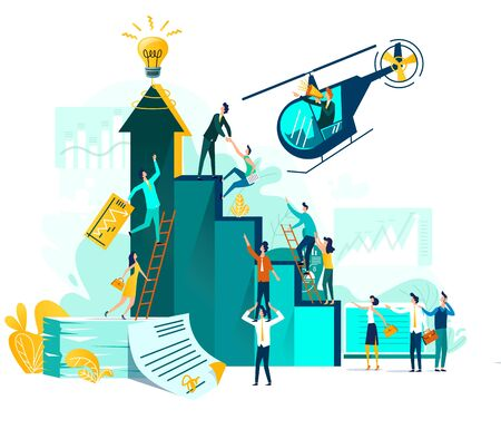 Goal achievement and teamwork businessvector concept, career growth and cooperation for development of project, idea, leader with loudspeaker in flying helicopter. Ladder of success, climbing people