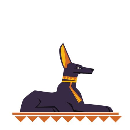 Ancient Egypt god dog or jackal vector cartoon illustration. Egyptian culture symbol, black statue of the god Anubis, sacred animal isolated on white background