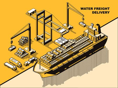 Water freight delivery, yellow isometric line art vector concept. Sea port, river dock with cranes unloading cargo barge or ship with containers. Export import logistics, international cargo shipment Illusztráció