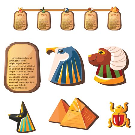Stone board or clay tablet with animal head and Egyptian religious symbols cartoon vector illustration. Ancient object for recording storing information, graphical user interface for game design