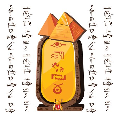 Stone board or clay tablet with pyramid silhouette and Egyptian hieroglyphs cartoon vector illustration Ancient object for recording storing information, graphical user interface, game design on white Ilustracja