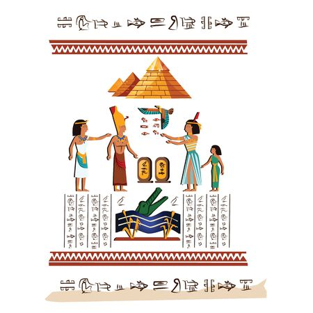 Ancient Egypt wall art or mural element cartoon vector. Monumental painting with hieroglyphs and Egyptian culture symbols, ancient gods, Nile river and human figures, isolated on white Illusztráció