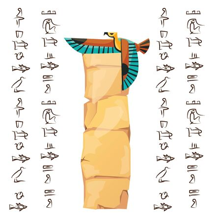 Ancient Egypt papyrus with falcon flying cartoon vector illustration. Ancient paper with hieroglyphs, storing information, Egyptian culture religious symbol with sun god isolated on white background