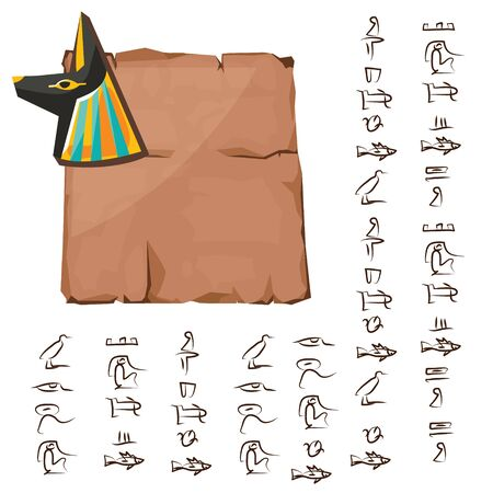 Ancient Egypt papyrus with anubis dog, jackal head cartoon vector. Ancient paper with hieroglyphs, storing information, Egyptian culture religious symbol with sun god isolated on white background Banque d'images - 131875198
