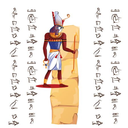 Ancient Egypt papyrus part or stone column with sacred falcon headed god cartoon vector illustration. Egyptian culture symbol, blank unfolded ancient paper with hieroglyphs, isolated on white Banque d'images - 131874607