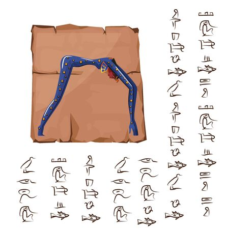 Ancient Egypt papyrus or stone cartoon vector with hieroglyphs and Egyptian culture religious symbol, nude star-covered arching woman, nighttime goddess Nut