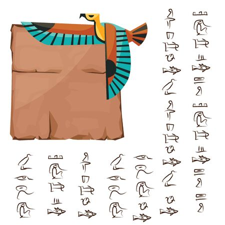 Ancient Egypt papyrus part with flying bird cartoon vector illustration. Ancient paper with hieroglyphs for storing information, Egyptian culture religious symbols, isolated on white background  イラスト・ベクター素材