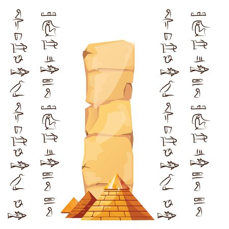 Ancient Egypt papyrus part with pyramid silhouette cartoon vector illustration. Ancient paper with hieroglyphs for storing information, Egyptian culture religious symbols, isolated on white background Banque d'images - 131875743