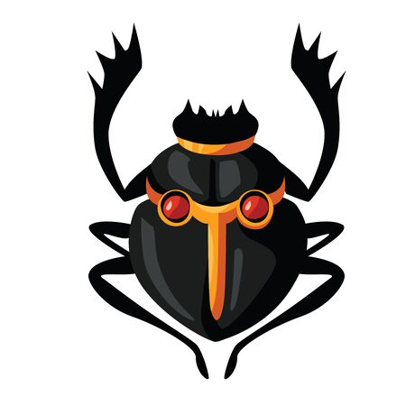 Ancient Egypt scarab beetle cartoon vector. Egyptian culture religious symbol, black insect figure, embodiment of rising or morning sun god Khepri