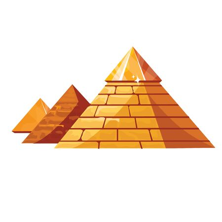 Egyptian pyramids cartoon vector illustration. Symbol of civilization of ancient Egypt, pharaohs burial place, cult place and one of wonders of world, isolated on white background