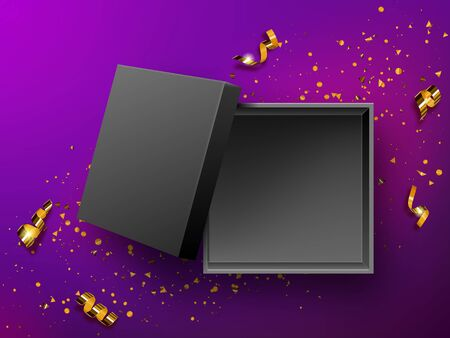 Open gift black box top view realistic vector illustration. Empty present box on purple background with gold confetti or golden spiral twisted tinsel., birthday, New Year or Christmas design Illusztráció