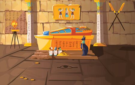 Ancient Egypt tomb of pharaoh cartoons vector illustration. Egyptian pyramid interior with golden sarcophagus, hieroglyphs and mural, ritual vases and other religious symbols, treasure