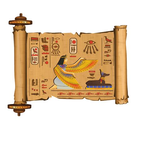 Ancient Egypt papyrus scroll with wooden rod cartoon vector with hieroglyphs and Egyptian culture religious symbols, ancient gods Isis and Anubis, isolated on white background Banque d'images - 132092513