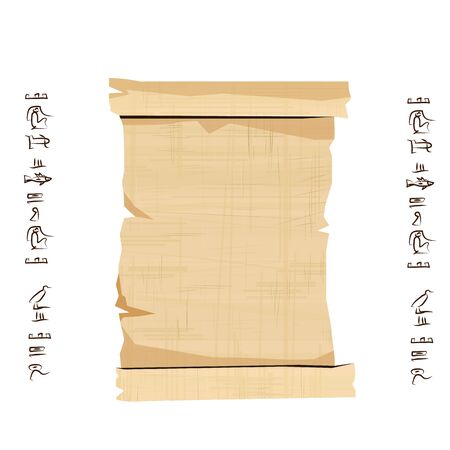 Ancient Egypt papyrus scroll cartoon vector illustration. Egyptian culture symbol, unfolded blank ancient paper to store information, isolated on white background