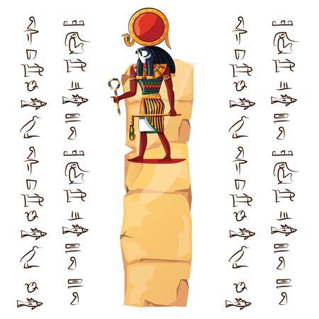 Ancient Egypt papyrus part or stone column with sacred falcon headed god cartoon vector illustration. Egyptian culture symbol, blank unfolded ancient paper with hieroglyphs, isolated on white Banque d'images - 131876099