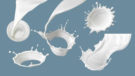 Milk splash or pouring realistic vector illustration. Natural dairy products, yogurt or cream in crown splash with drops or various swirls, for packaging design isolated on blue background Çizim