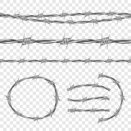 Metal steel barbed wire with thorns or spikes realistic seamless vector illustration isolated on transparent background. Fencing or barrier element for danger industrial facilities or prisons Vector Illustration