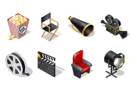 Cinema isometric icons with shadow cartoon vector illustration isolated on white background. Movie industry elements, clapper, chairs, loudspeaker, video camera, film reel, spotlight and popcorn Illusztráció