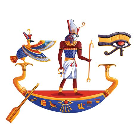 Ancient Egypt sun god Ra or Horus cartoon vector illustration. Egyptian culture religious symbols, ancient god-falcon in night or day boat, sacred bird, isolated on white background
