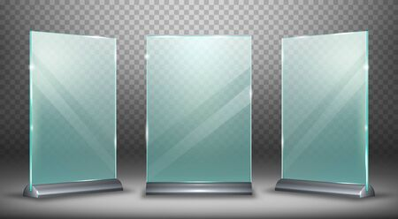 Acrylic display desktop or floor, glass plate with metal holder realistic vector illustration isolated on transparent background, front side view. Empty menu frame or ads with highlights and shadow.