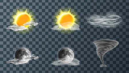 Weather meteo icons realistic set vector illustration. Realistic elements for weather forecast, sun, moon, clouds, hurricane or strong wind, tornado funnel isolated on transparent background