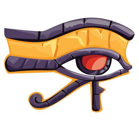 Ojo de Horus o Ra o wadjet, ilustración de vector de dibujos animados de símbolo religioso egipcio antiguo. Ojo de halcón del dios sol, amuleto protector símbolo de la realeza Ilustración de vector