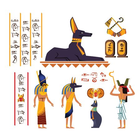 Ancient Egypt wall art or mural element cartoon vector. Monumental painting with hieroglyphs and Egyptian culture symbols, ancient gods and human figure, priest, isolated on white background