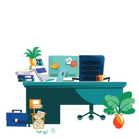 Office interior isolated on white background cartoon vector illustration. Workplace with table, computer, armchair, task cards glued to monitor, coffee cup and potted plant, wastepaper basket on floor Ilustração