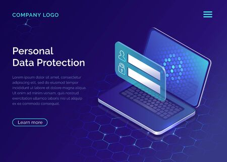 Protecting personal data concept, internet account security guarantee isometric vector. Frame with login and password in front of open laptop screen on blue honeycomb background, landing web site page Ilustração