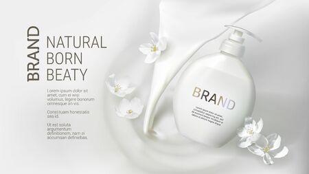 Kosmetisches realistisches Vektorweißposter mit Sahne oder gießender Milch und fallender flüssiger Jasminseifenpackung. Hautpflegekosmetik, Waschgel in weißer Flasche auf gewellter flüssiger Oberfläche Mock-up-Werbebanner Vektorgrafik