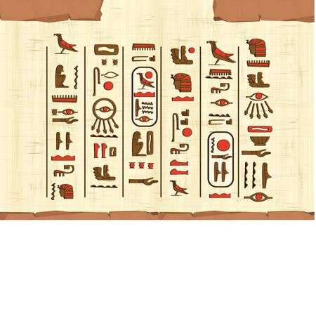 Ancient Egypt papyrus frame or border with hieroglyphs cartoon vector. Egyptian culture symbol, unfolded blank ancient paper to store information, isolated on white background  イラスト・ベクター素材