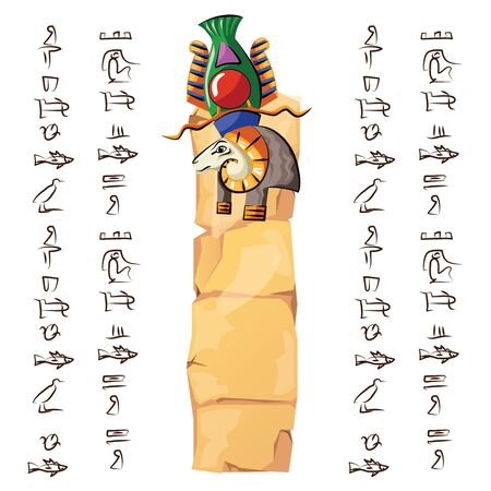 Ancient Egypt papyrus or stone column with ram head cartoon vector illustration. Ancient paper with hieroglyphs for storing information, Egyptian culture religious symbol, isolated on white background