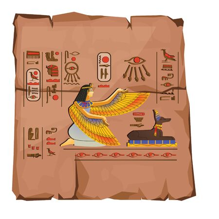 Ancient Egypt papyrus part cartoon vector. Ancient paper with hieroglyphs and Egyptian culture religious symbols, gods Isis and Anubis, isolated on white background