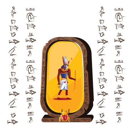 Stone board or clay tablet with falcon headed god and Egyptian hieroglyphs cartoon vector illustration. Ancient object for recording storing information, graphical user interface for game design  イラスト・ベクター素材