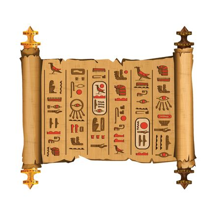 Ancient Egypt papyrus scroll with wooden rods cartoon vector. Ancient paper with hieroglyphs and Egyptian culture religious symbols, ancient gods, sacred bird, isolated manuscript on white background Ilustração