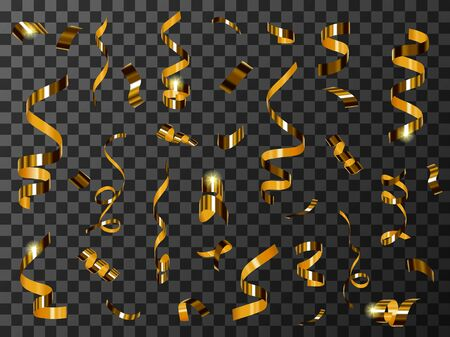 Golden confetti or tinsel isolated on transparent background realistic vector. Shining golden twisted spiral papers, sparkling holiday elements to create festive birthday, New Year or Christmas design